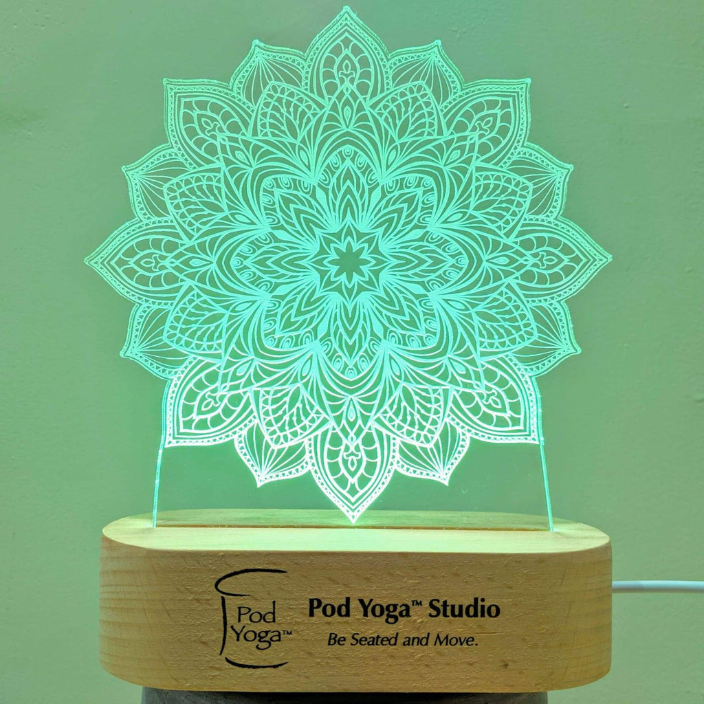 Glowing LED Lamp - Engravable wood - Decor