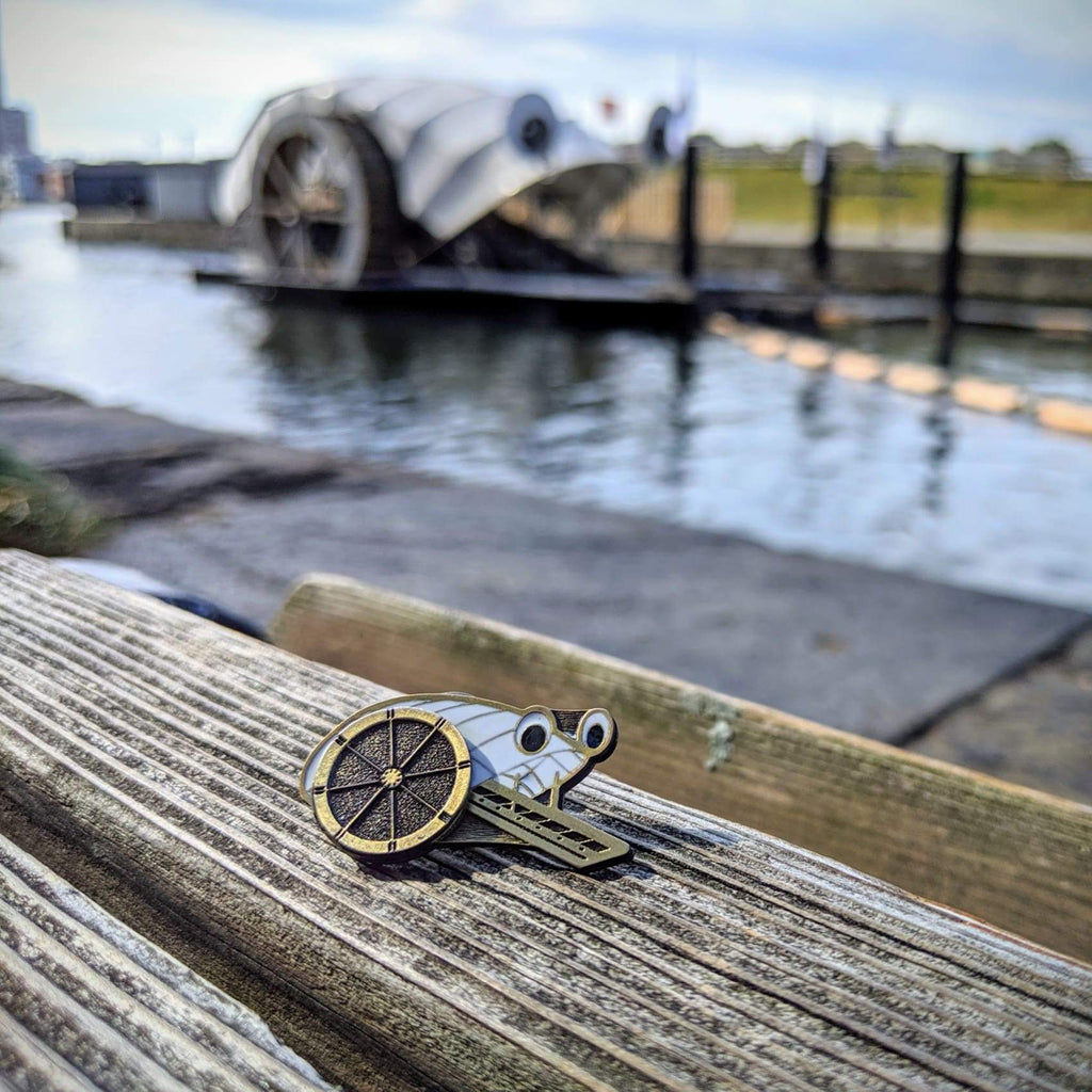 Mr. Trash Wheel Kinetic Pin - Gold-tone - Chase Street Originals