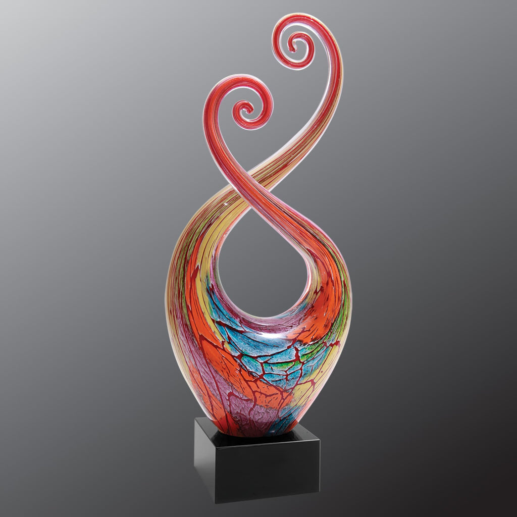 Multi-Color Twist Art Glass with Black Base - Art Glass