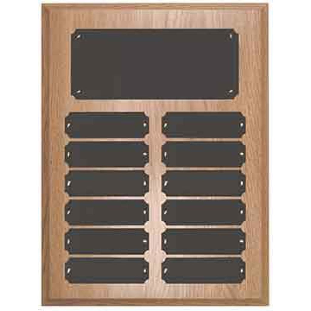 Oak Finish Perpetual Plaque - 9 x 12 x 12 3/4 - 12 Plates - Plaques