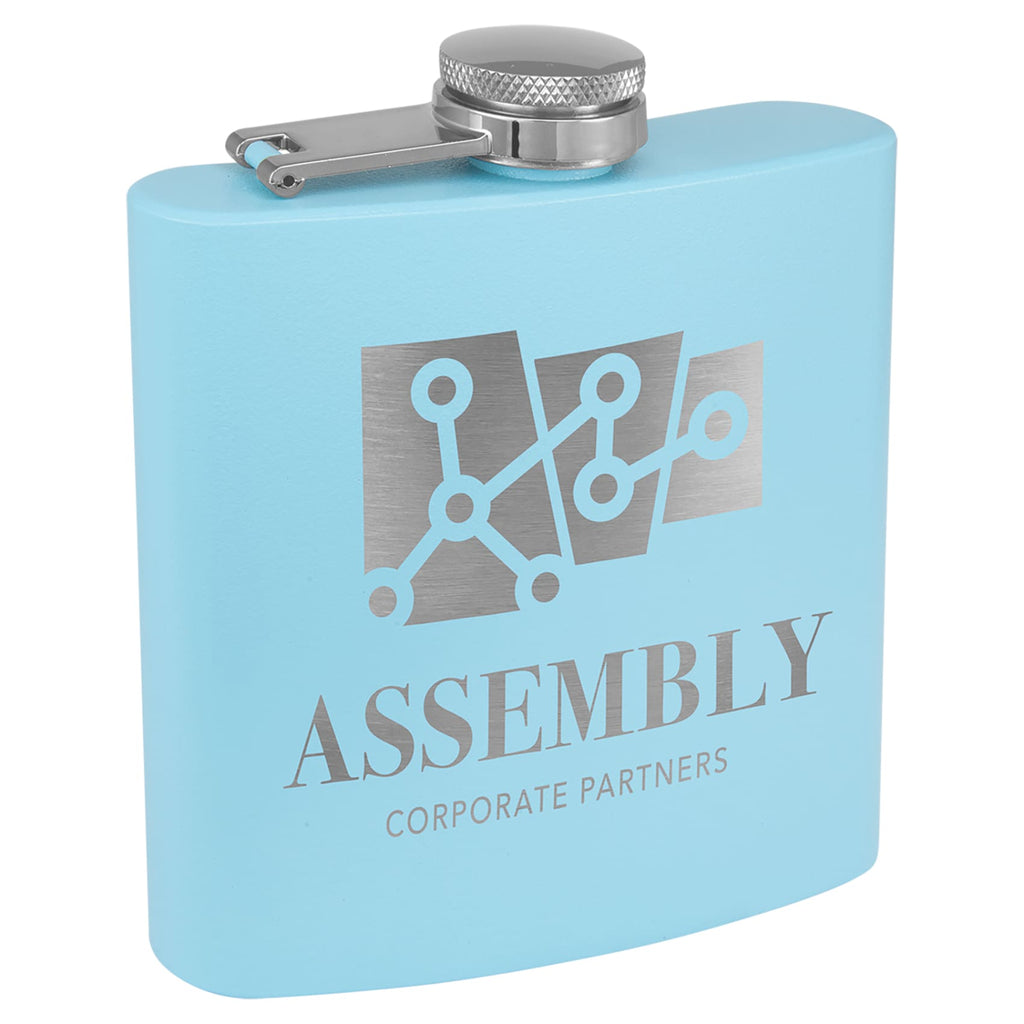 Powder Coated Stainless Steel Flask - Light Blue - Drinkware