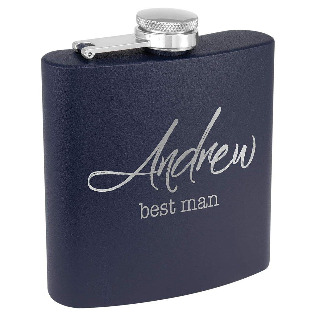 Powder Coated Stainless Steel Flask - Navy Blue - Drinkware