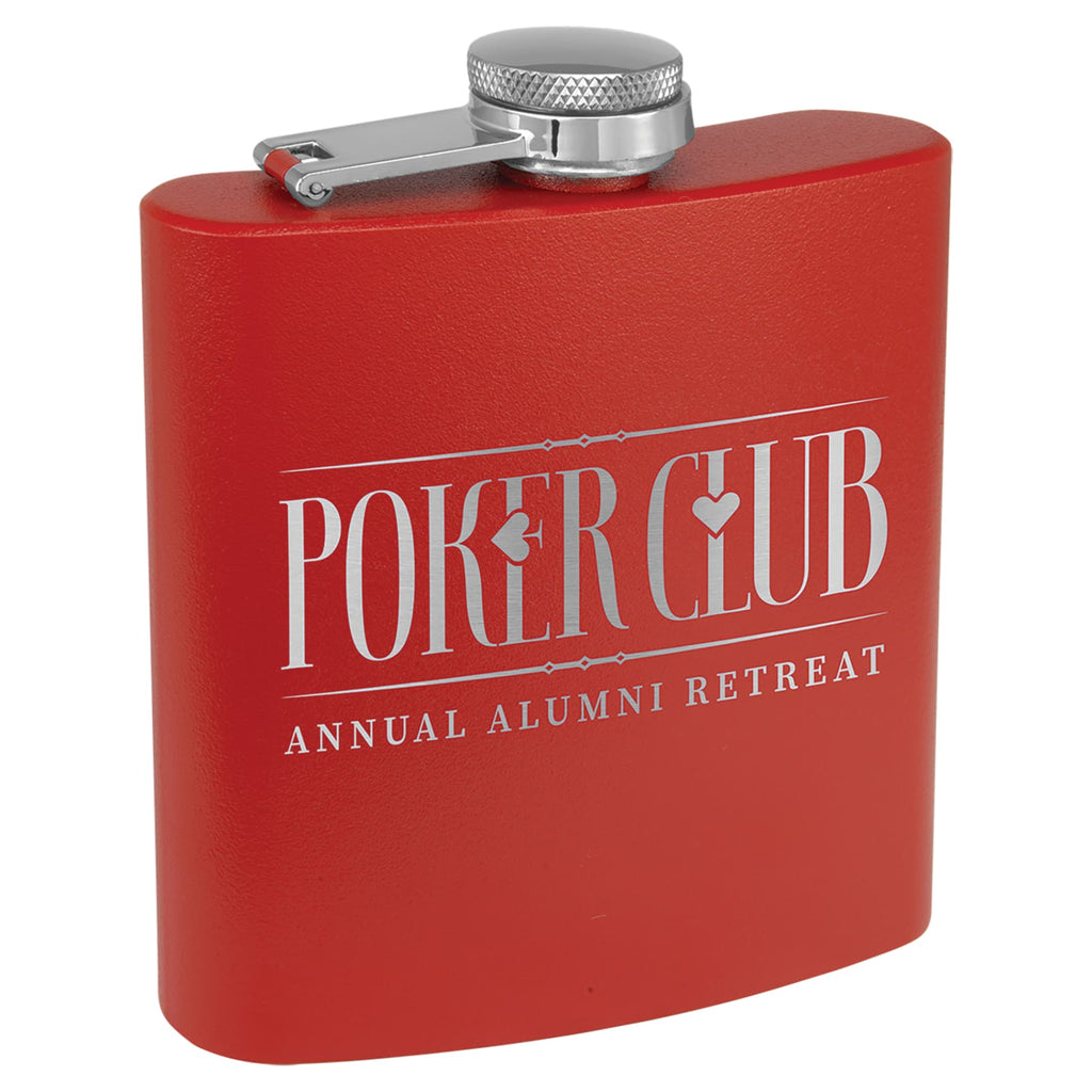 Powder Coated Stainless Steel Flask - Red - Drinkware