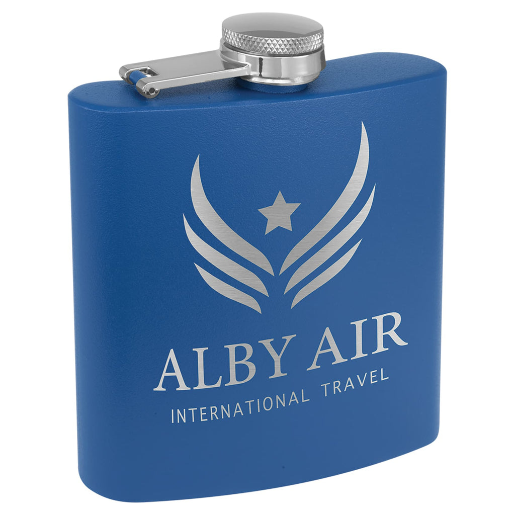 Powder Coated Stainless Steel Flask - Royal Blue - Drinkware