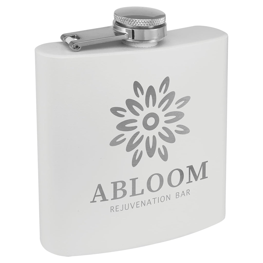 Powder Coated Stainless Steel Flask - White - Drinkware