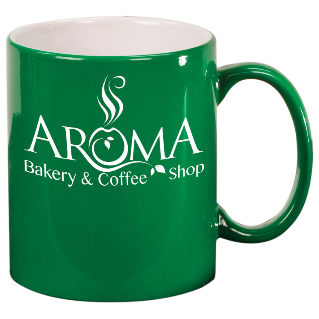 Round Ceramic Mug - Green - Drinkware