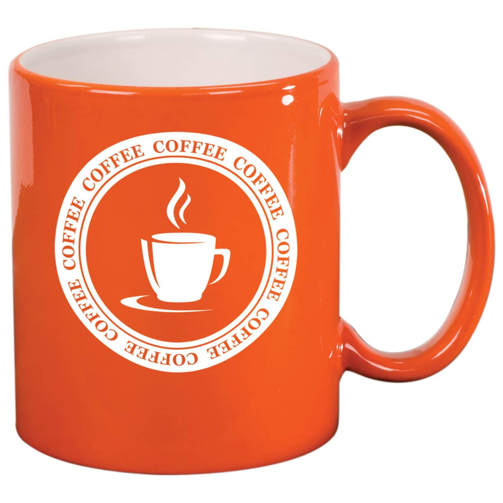 Round Ceramic Mug - Orange - Drinkware