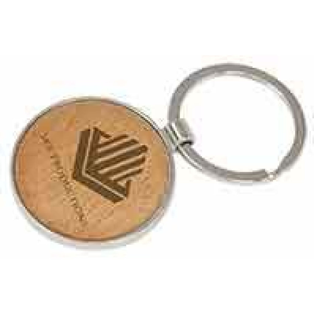 Silver and Wood Keychain - Circle - Office Gifts