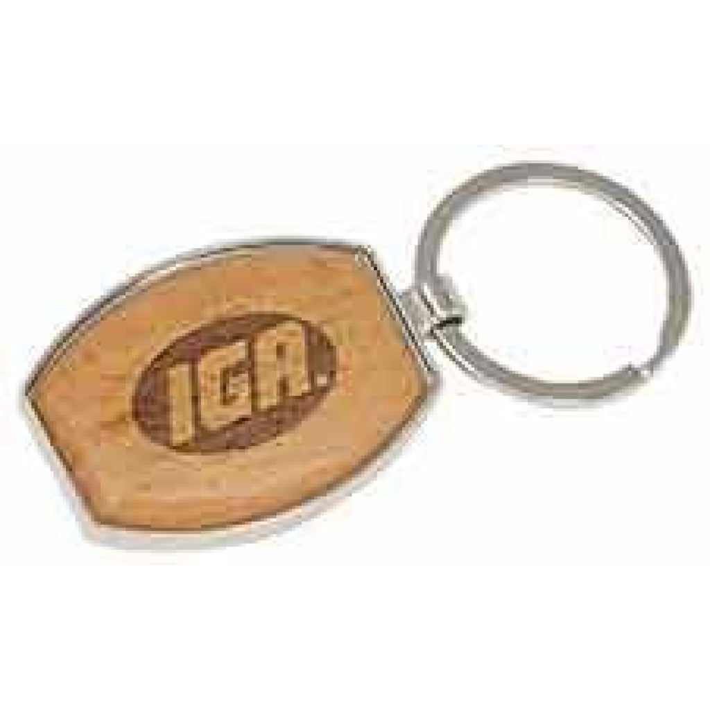 Silver and Wood Keychain - Oval - Office Gifts