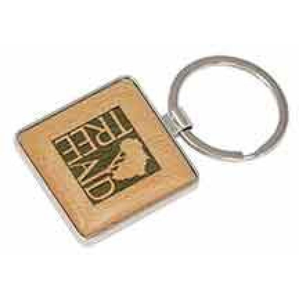 Silver and Wood Keychain - Square - Office Gifts