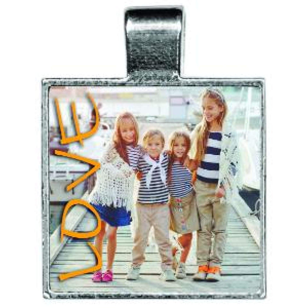 Silver Framed Pendant - .86 Square - Bags & Apparel