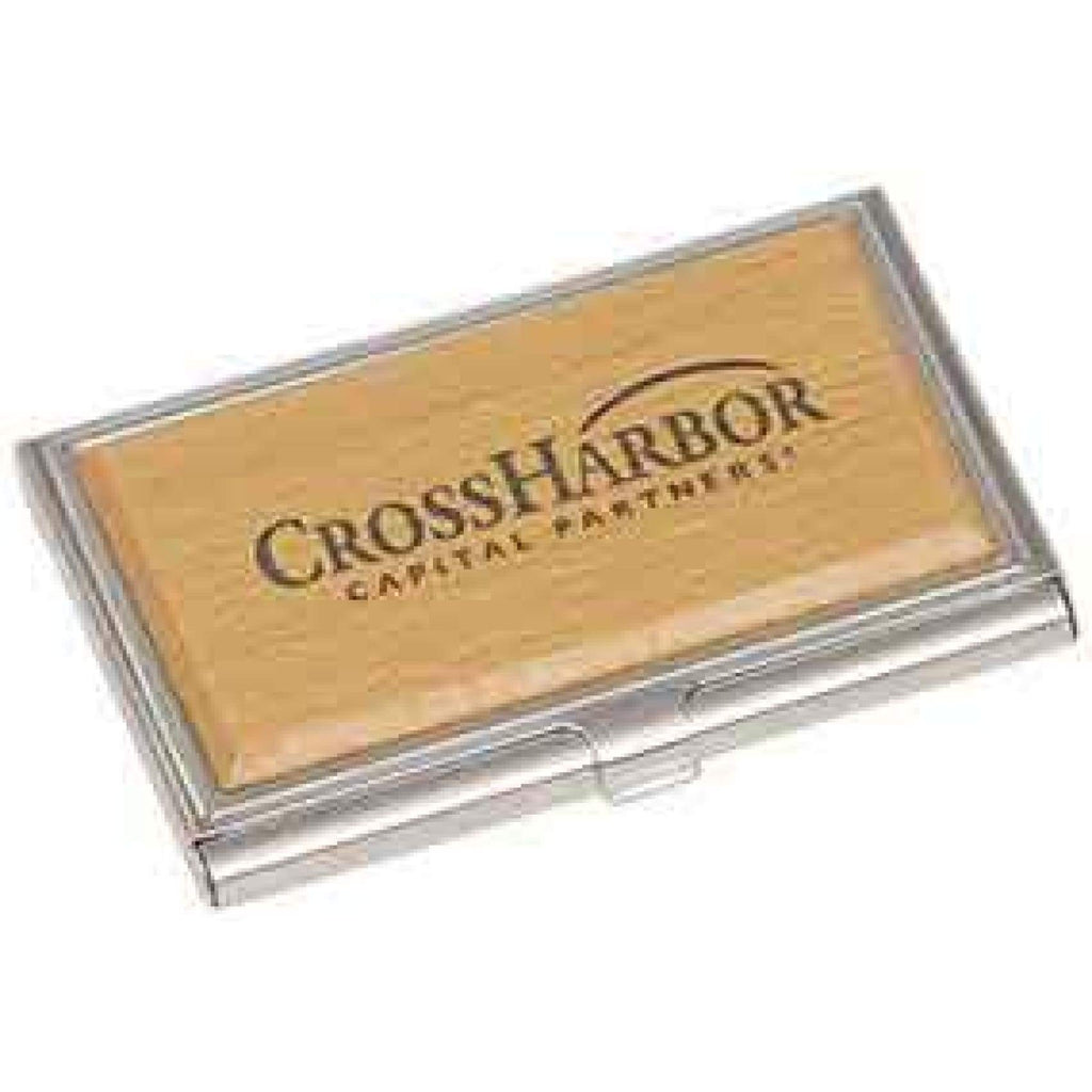 Silver/Wood Business Card Holder - Office Gifts