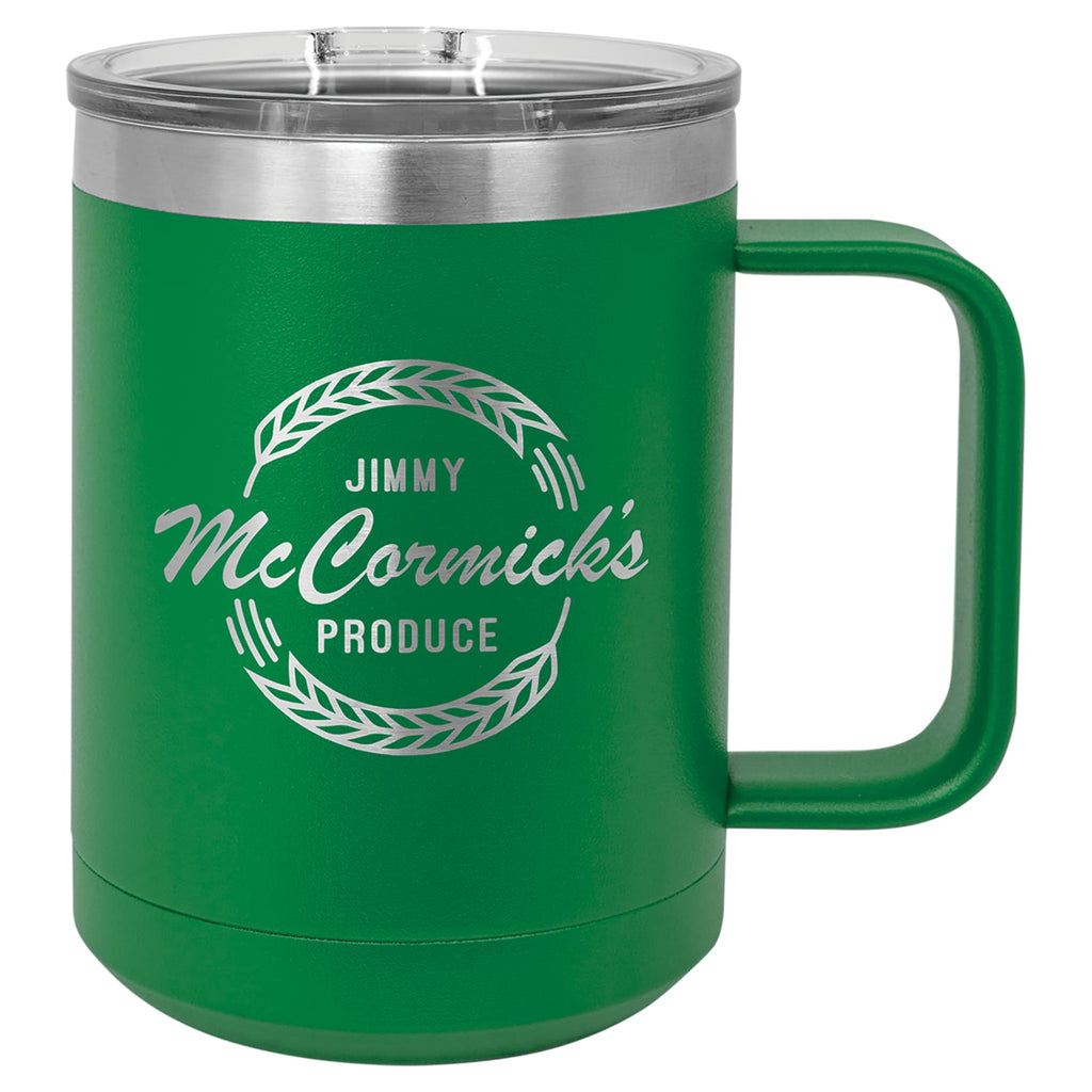 Stainless Steel Mug with Lid - Green - Drinkware