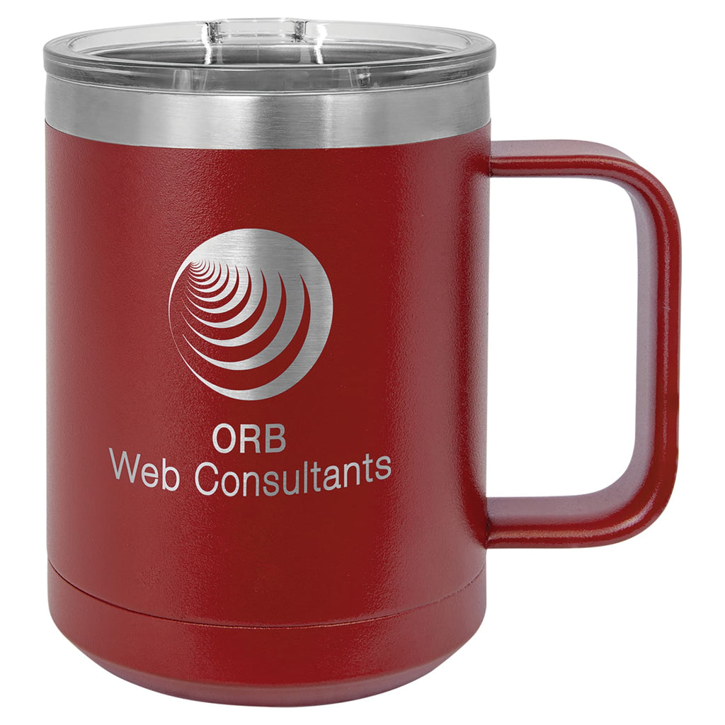 Stainless Steel Mug with Lid - Maroon - Drinkware