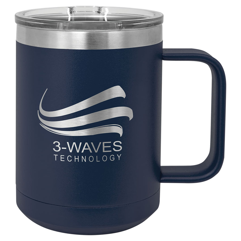 Stainless Steel Mug with Lid - Navy Blue - Drinkware