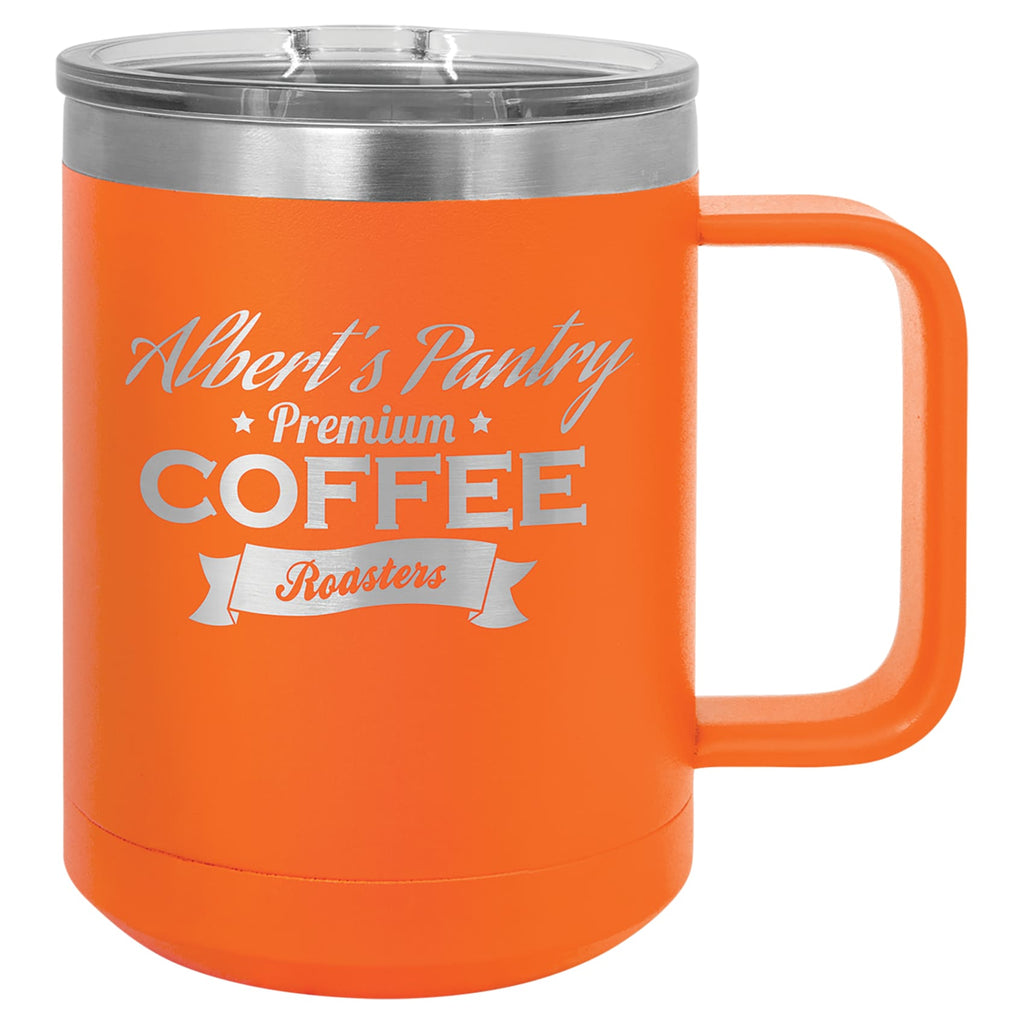 Stainless Steel Mug with Lid - Orange - Drinkware