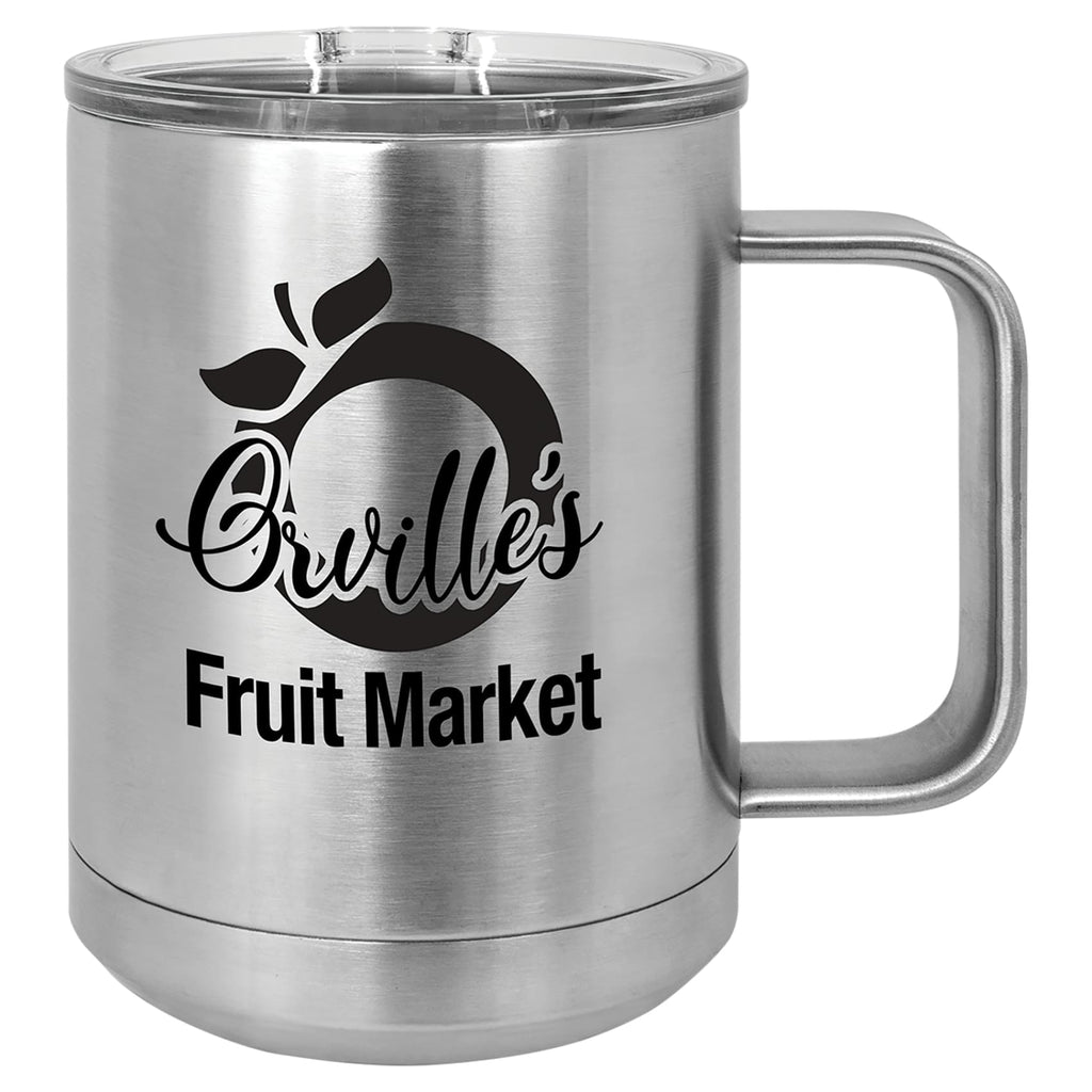 Stainless Steel Mug with Lid - Silver - Drinkware