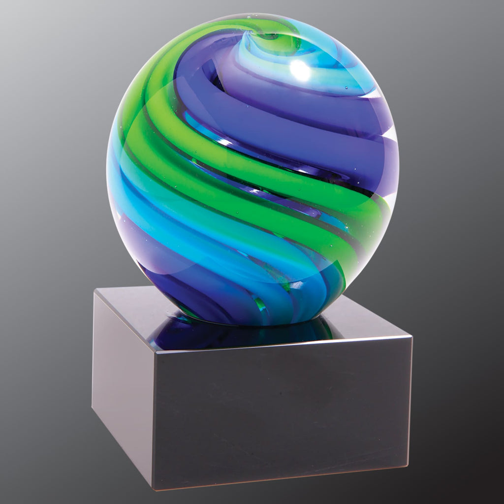 Two-Tone Blue & Green Sphere - Art Glass