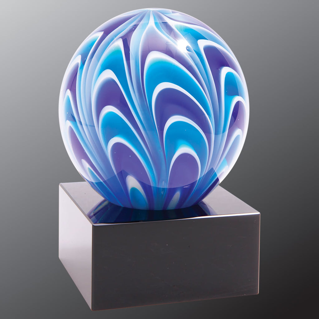 Two-Tone Blue & White Sphere - Art Glass