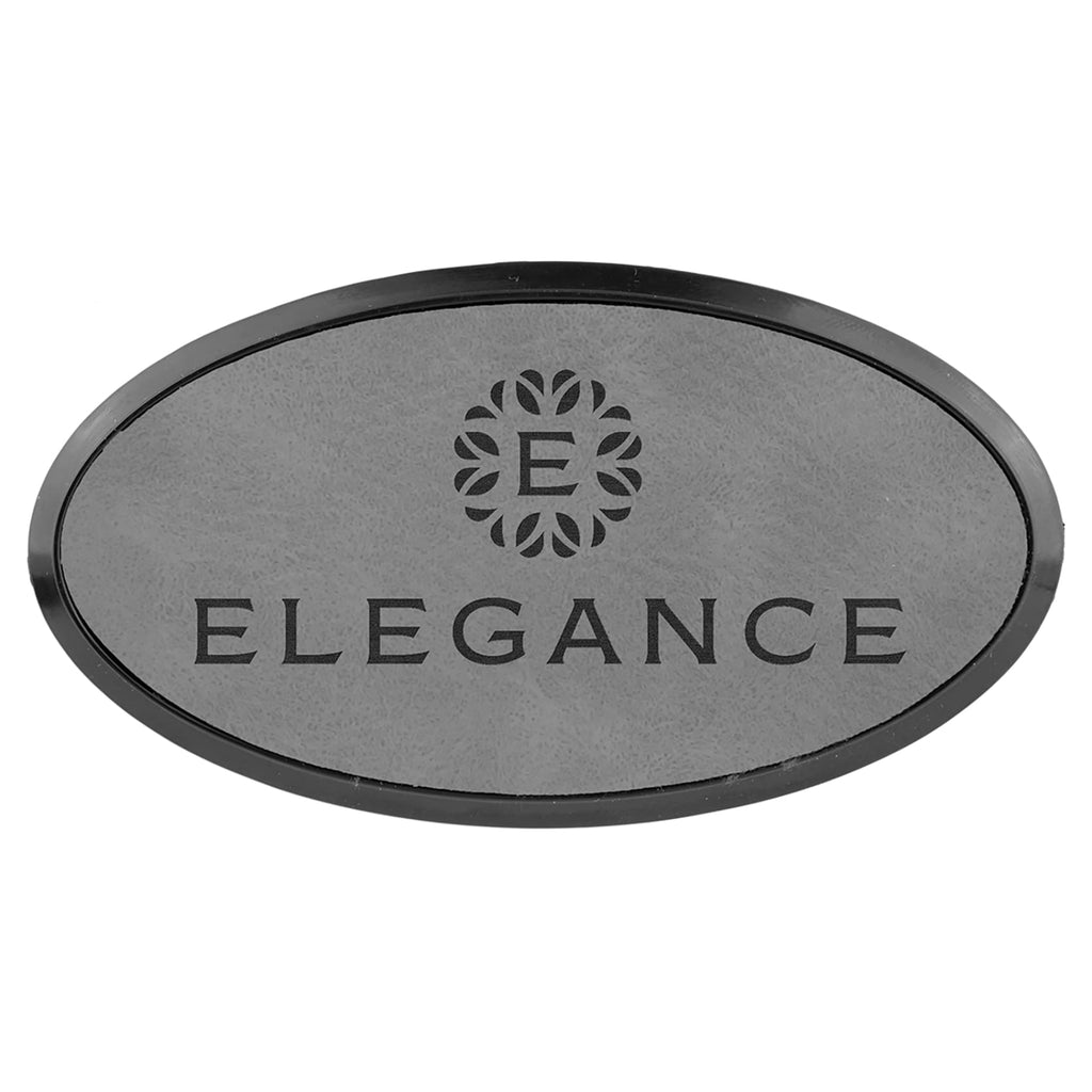 Vegan Leather Badge - Framed - 3.25 x 1.75 Oval / Gray - Bags & Apparel