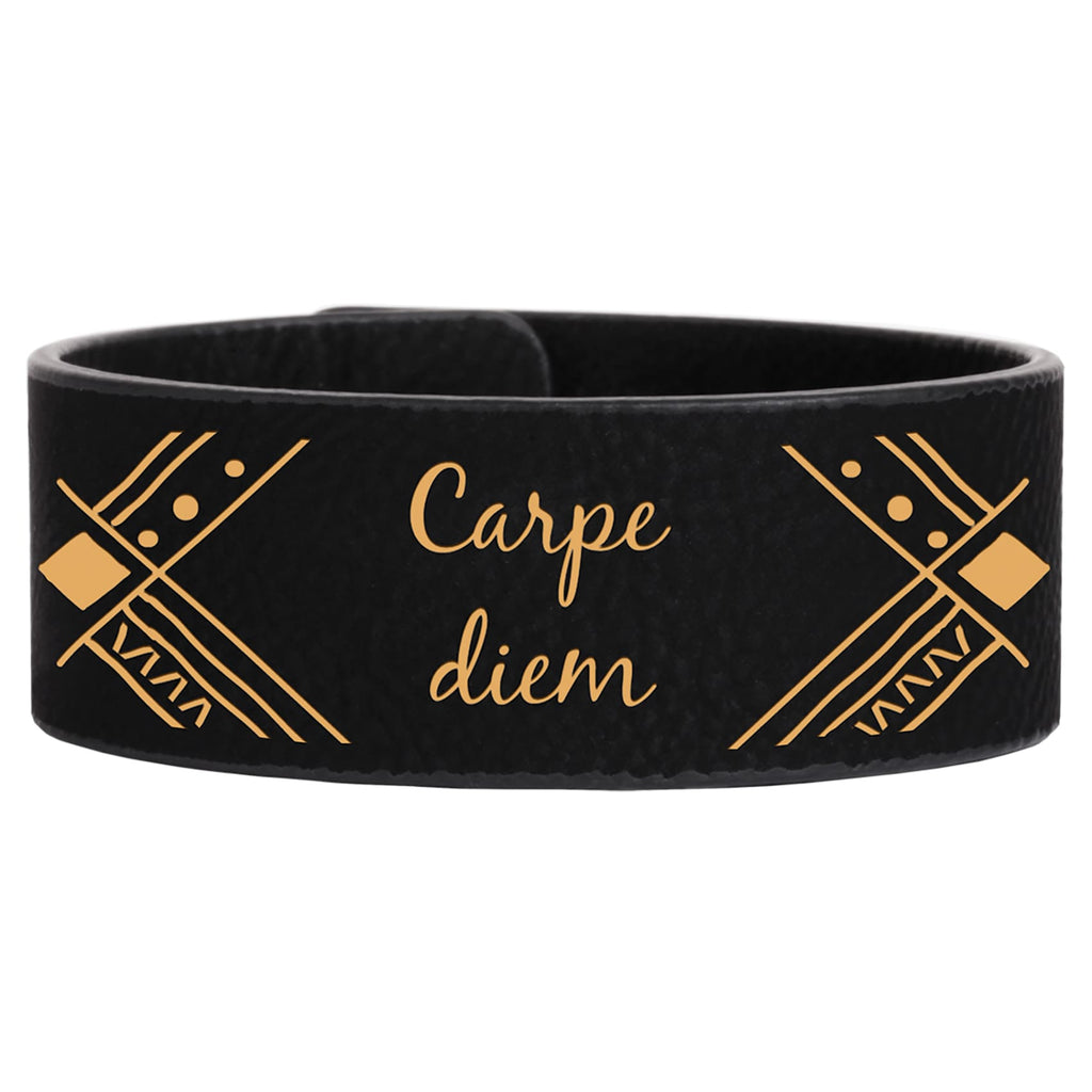 Vegan Leather Bracelet - Black | Gold / 1 x 9 - Bags & Apparel