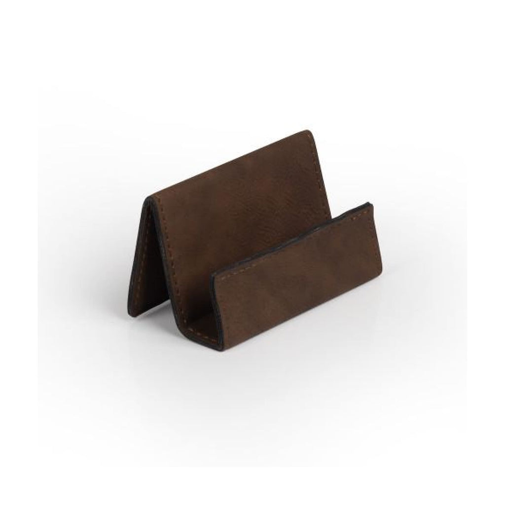 Vegan Leather Business Card Holder - Bay Brown - Office Gifts