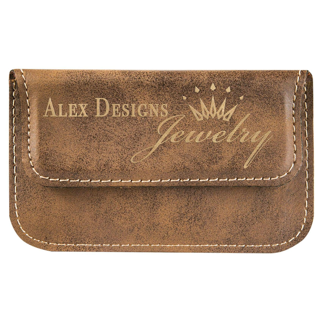 Vegan Leather Business Card Holder - Rustic | Gold - Office Gifts