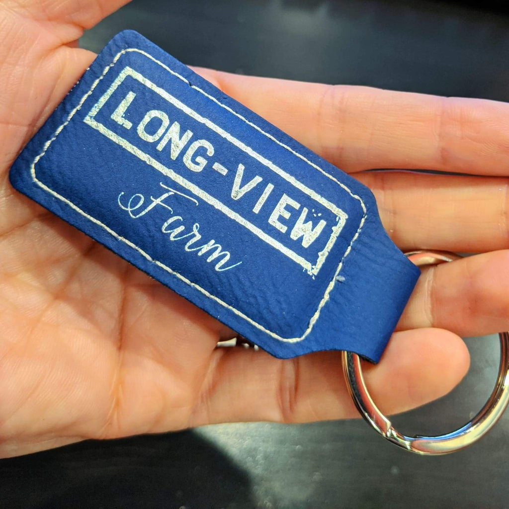 Vegan Leather Keychain - Blue | Silver / Rectangle - Office Gifts