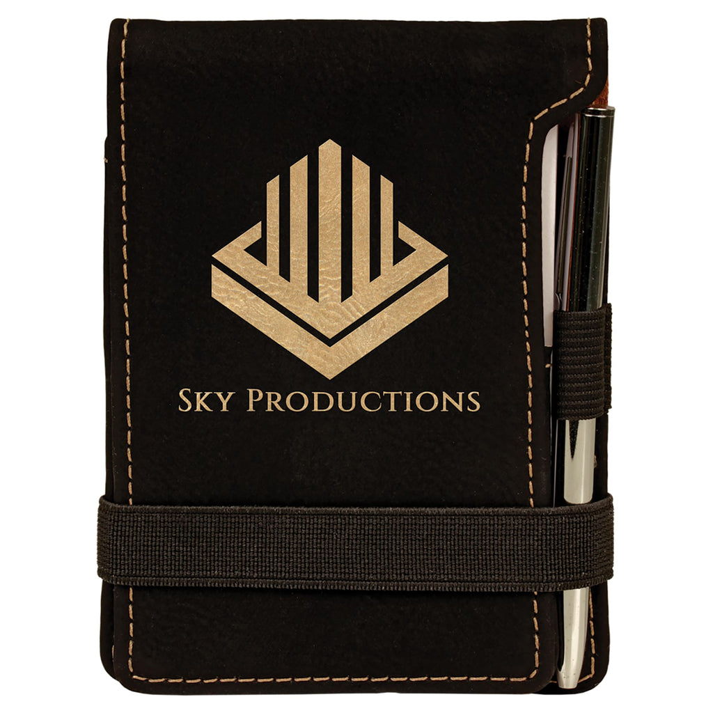 Vegan Leather Mini Notepad with Pen - Black | Gold - Office Gifts