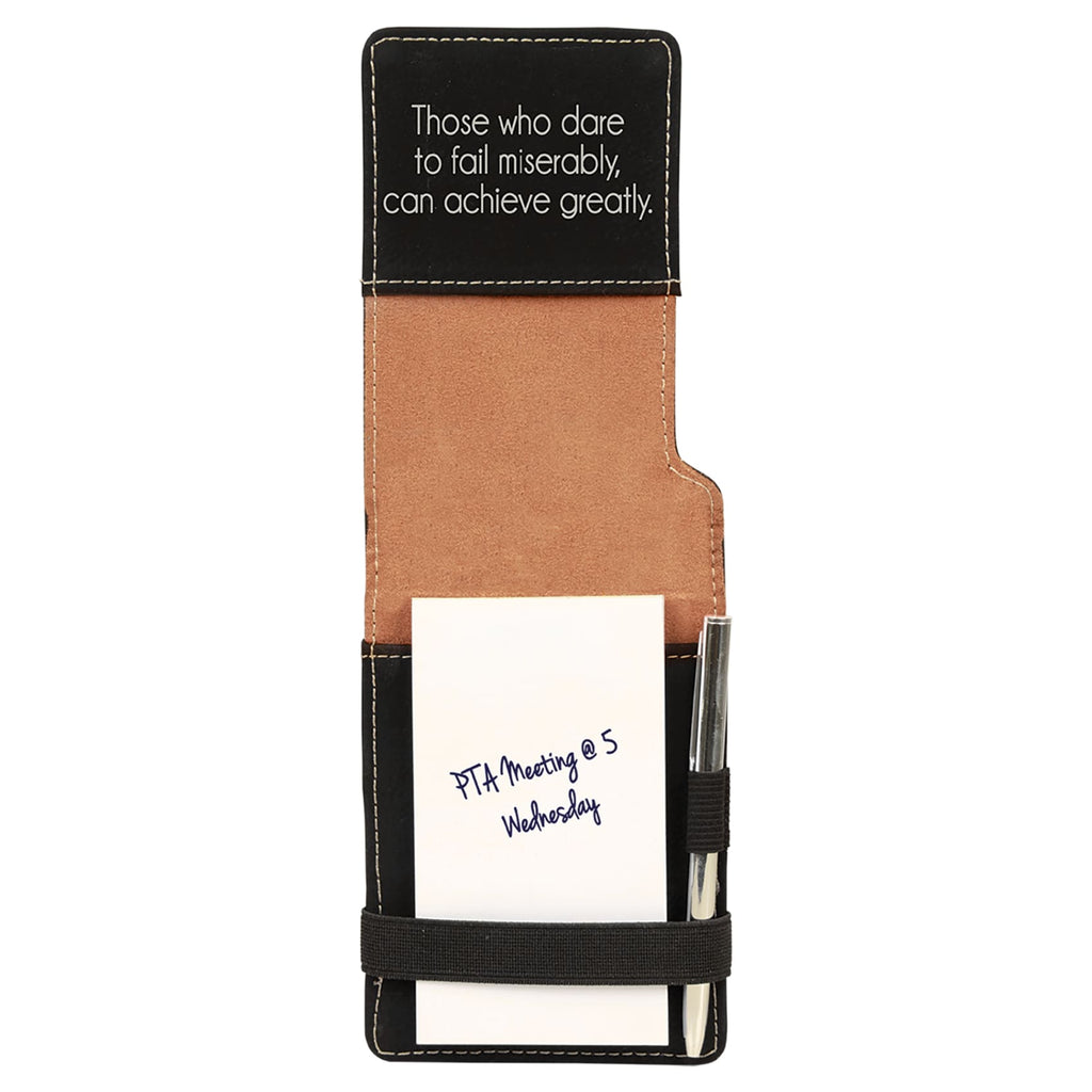 Vegan Leather Mini Notepad with Pen - Black | Silver - Office Gifts