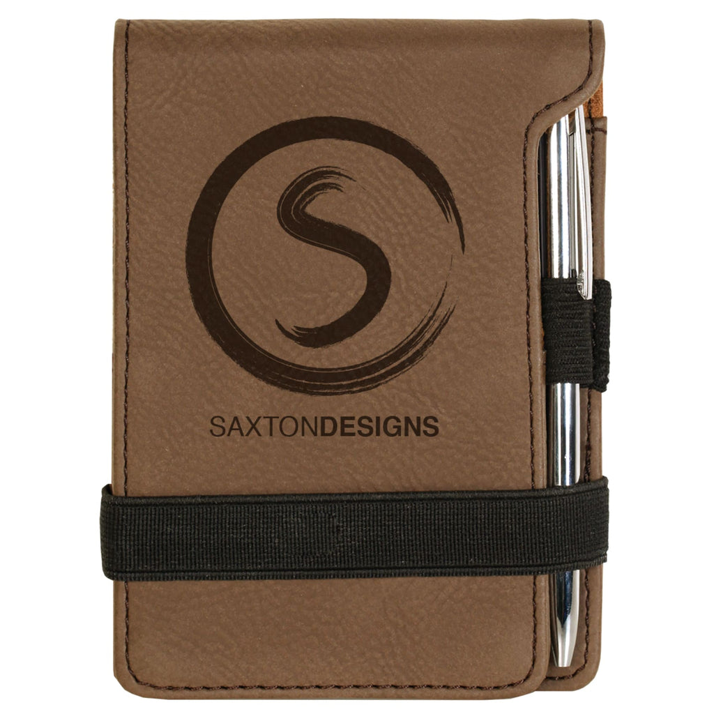 Vegan Leather Mini Notepad with Pen - Dark Brown - Office Gifts