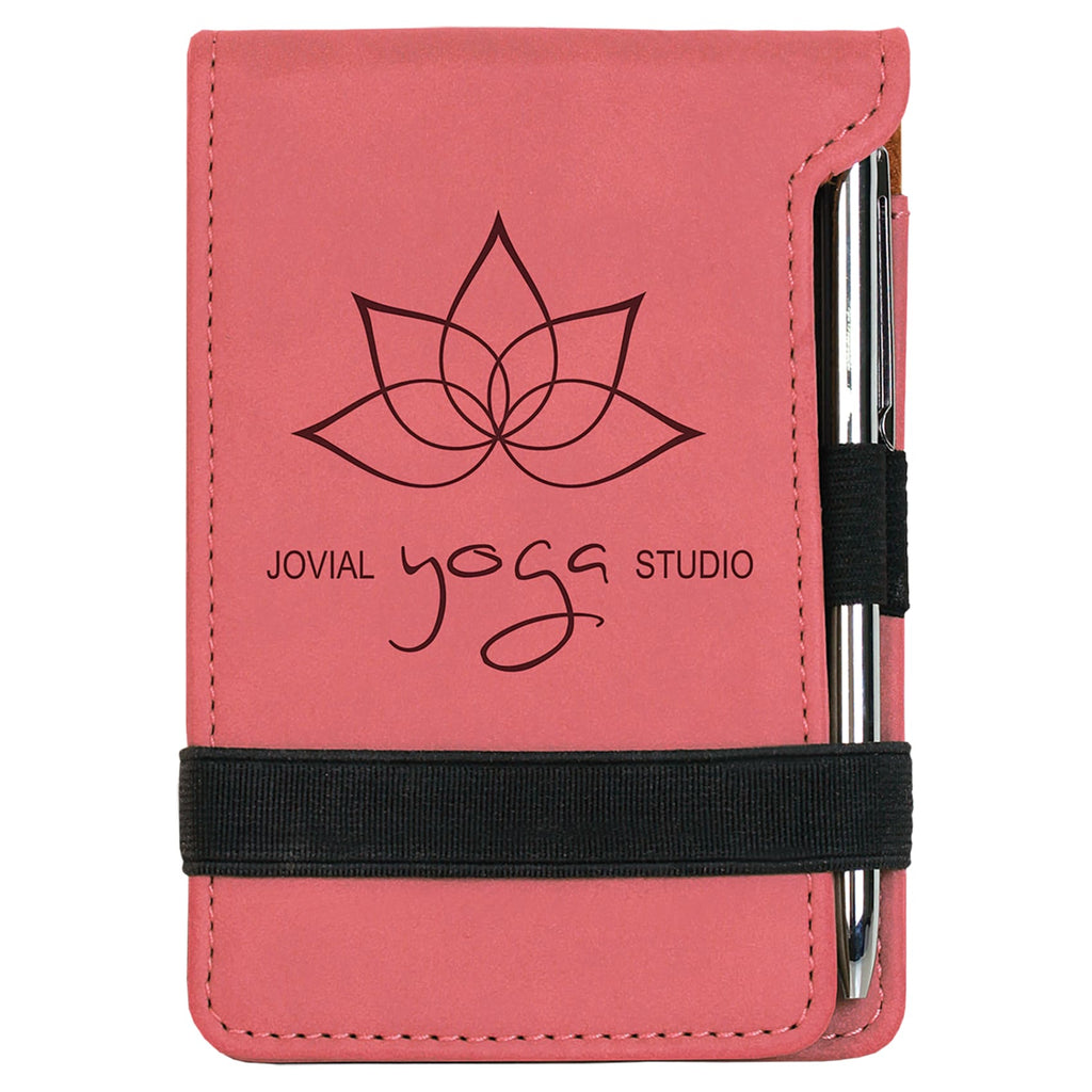 Vegan Leather Mini Notepad with Pen - Pink - Office Gifts