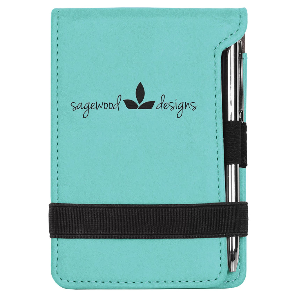 Vegan Leather Mini Notepad with Pen - Teal - Office Gifts