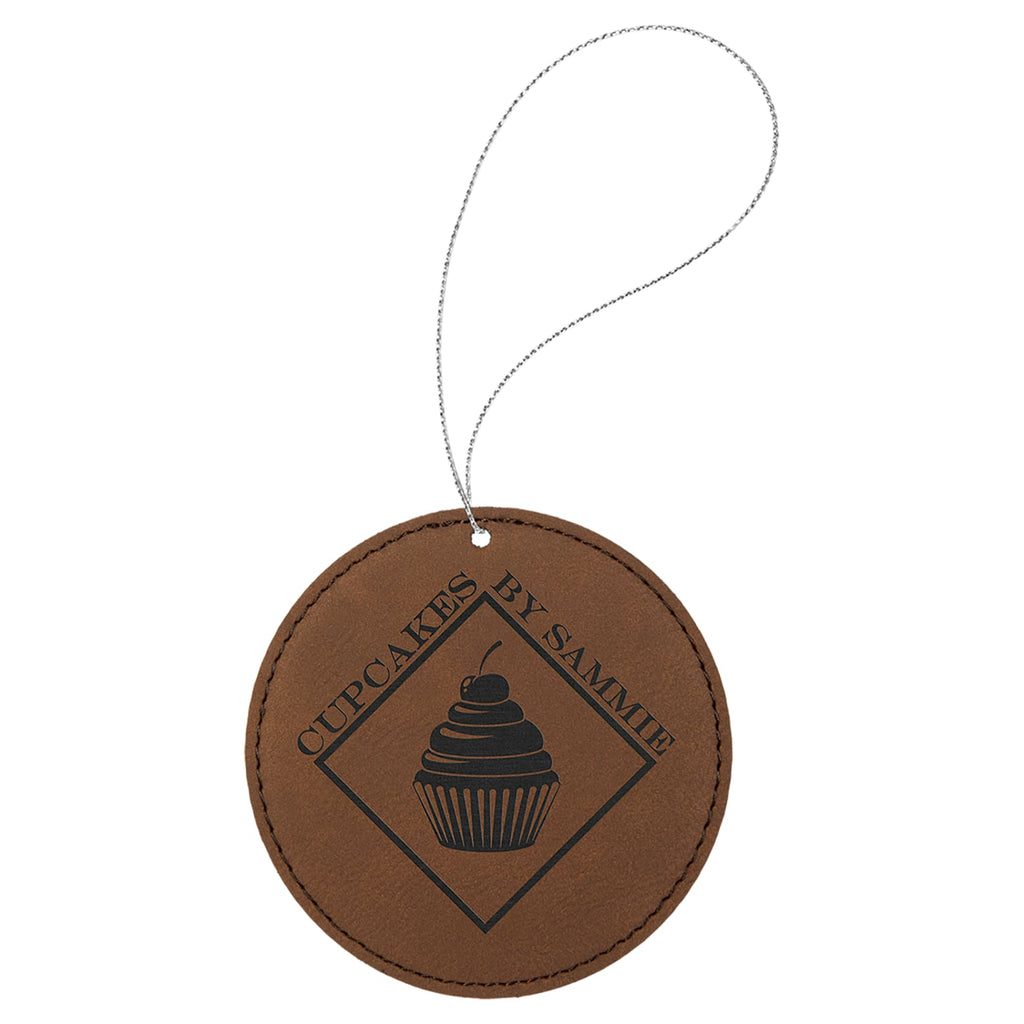 Vegan Leather Ornament - Multiple Shapes - Round / Dark Brown - Home Gifts