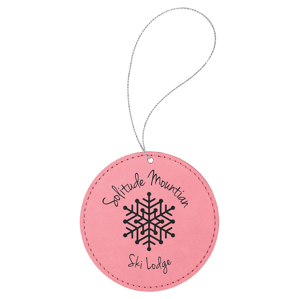 Vegan Leather Ornament - Multiple Shapes - Round / Pink - Home Gifts