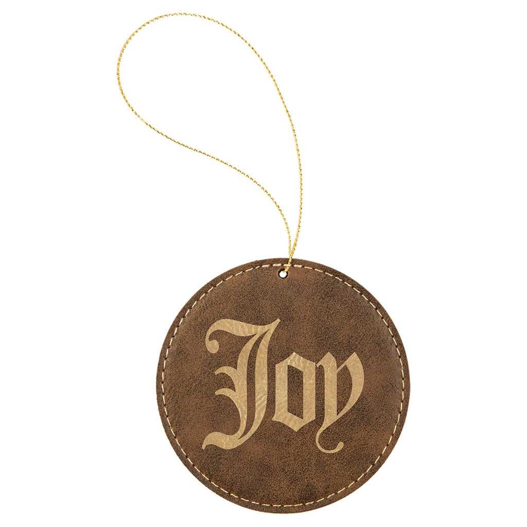 Vegan Leather Ornament - Multiple Shapes - Round / Rustic | Gold - Home Gifts