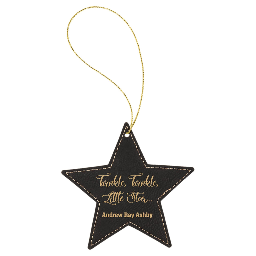 Vegan Leather Ornament - Multiple Shapes - Star / Black | Gold - Home Gifts