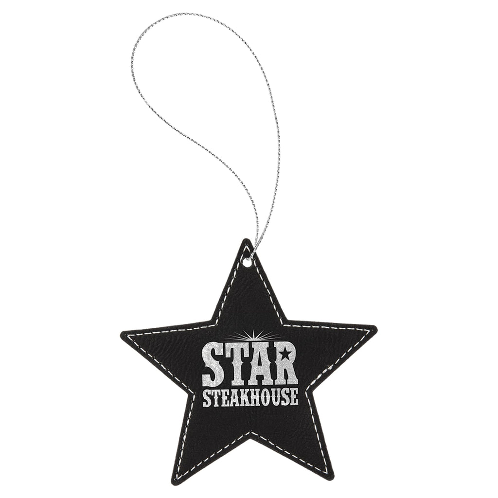 Vegan Leather Ornament - Multiple Shapes - Star / Black | Silver - Home Gifts