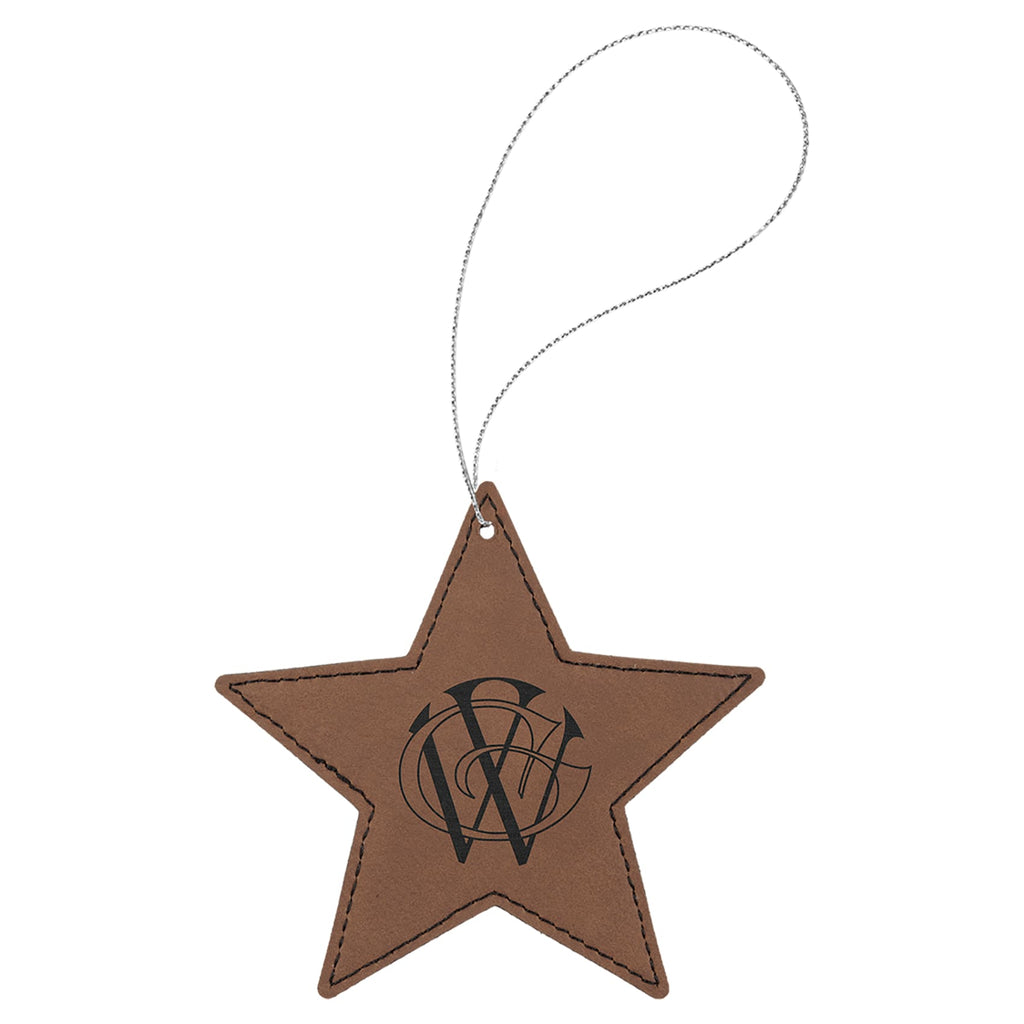 Vegan Leather Ornament - Multiple Shapes - Star / Dark Brown - Home Gifts
