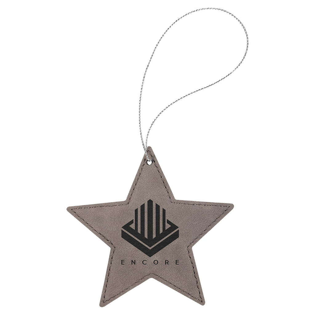 Vegan Leather Ornament - Multiple Shapes - Star / Gray - Home Gifts
