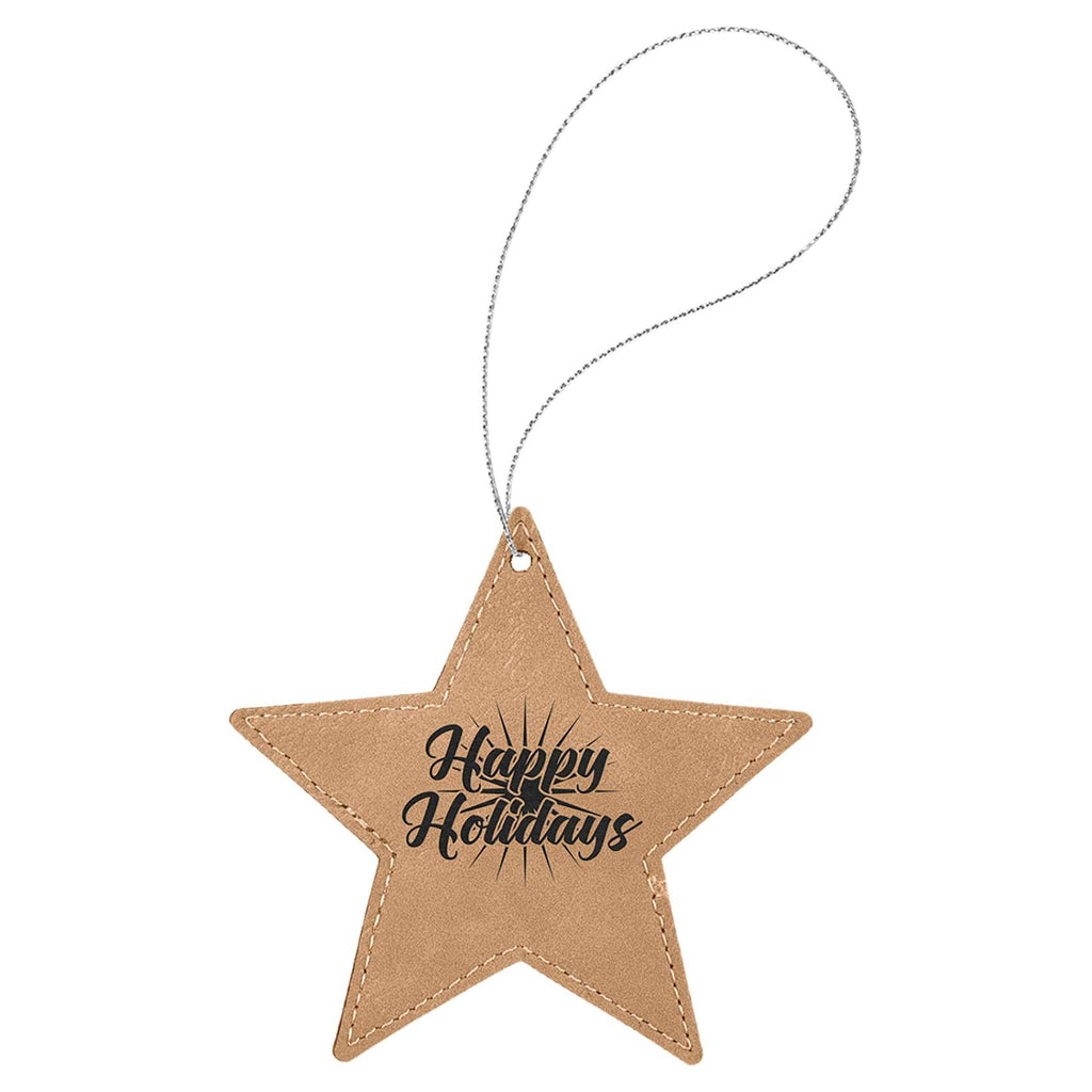Vegan Leather Ornament - Multiple Shapes - Star / Light Brown - Home Gifts