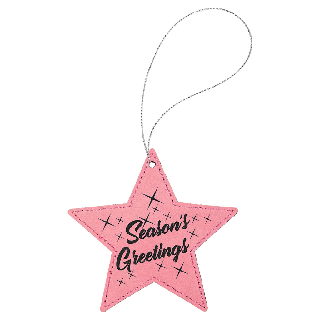 Vegan Leather Ornament - Multiple Shapes - Star / Pink - Home Gifts