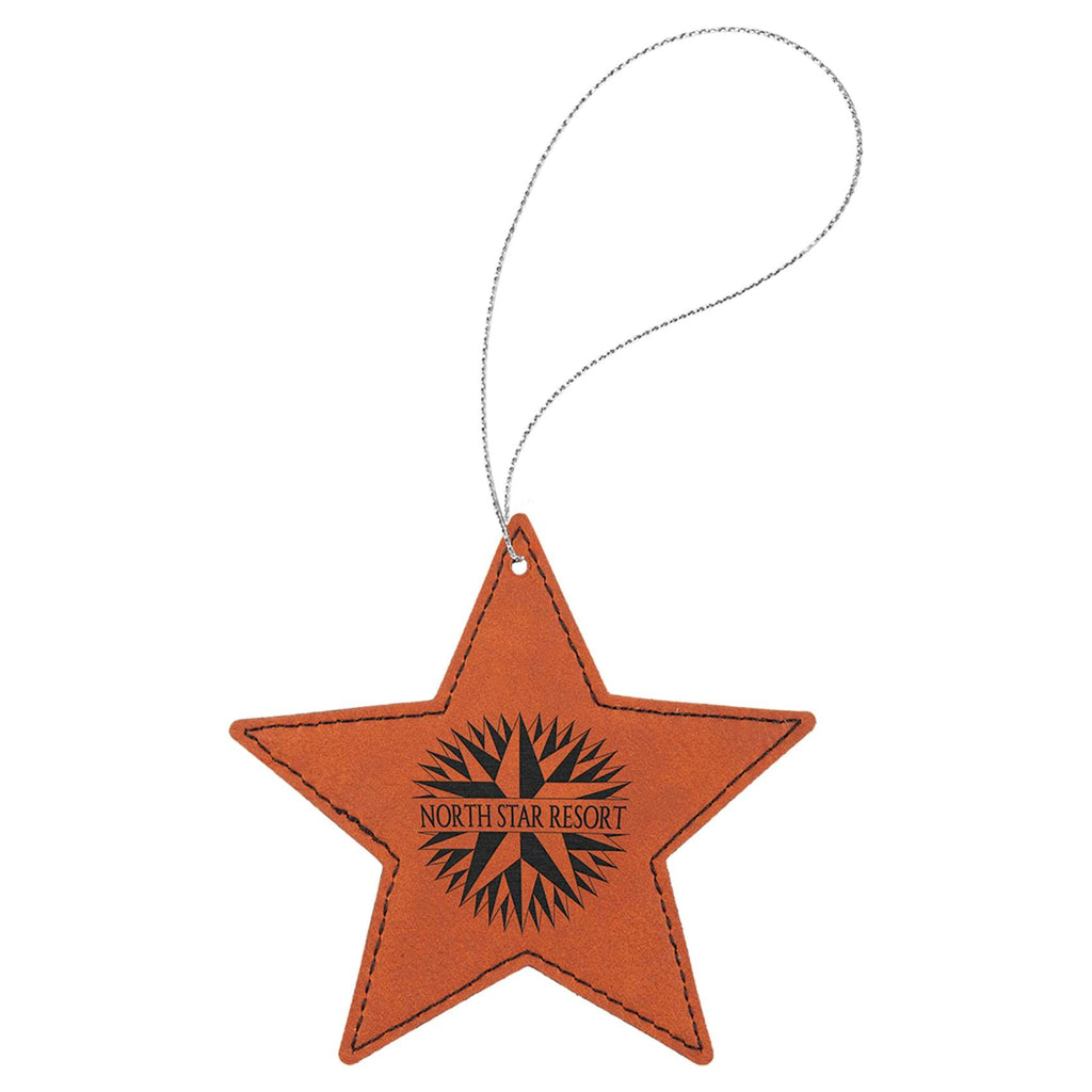 Vegan Leather Ornament - Multiple Shapes - Star / Rawhide - Home Gifts