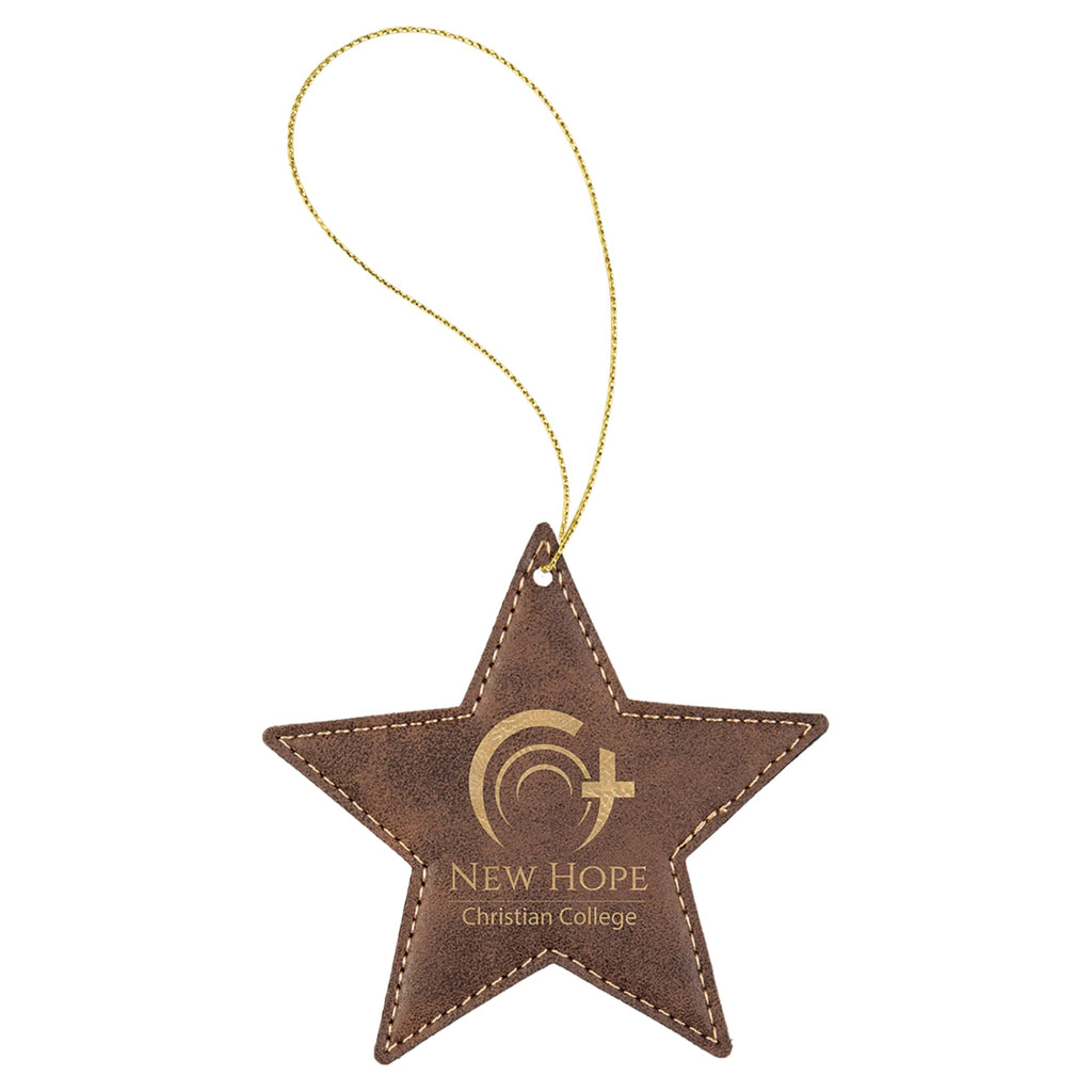 Vegan Leather Ornament - Multiple Shapes - Star / Rustic | Gold - Home Gifts