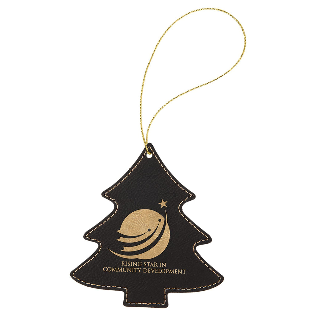 Vegan Leather Ornament - Multiple Shapes - Tree / Black | Gold - Home Gifts