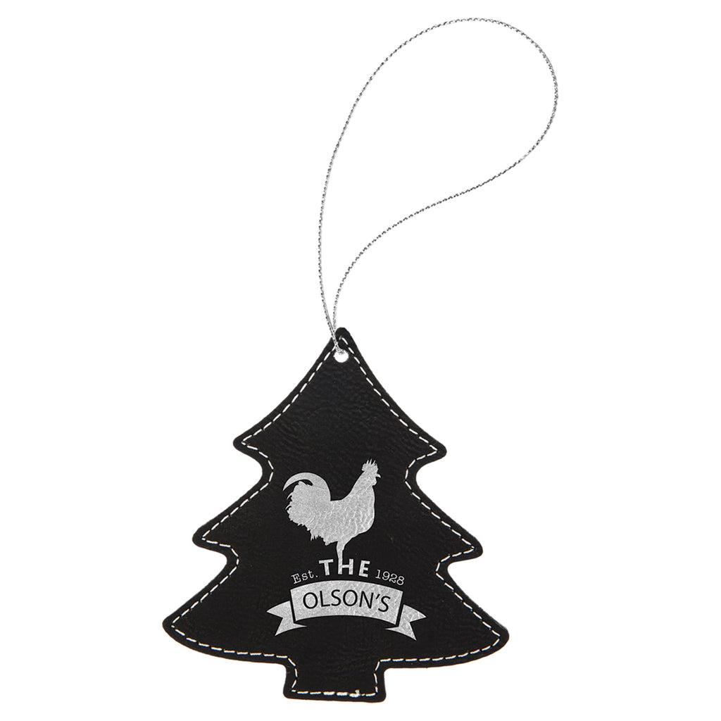 Vegan Leather Ornament - Multiple Shapes - Tree / Black | Silver - Home Gifts