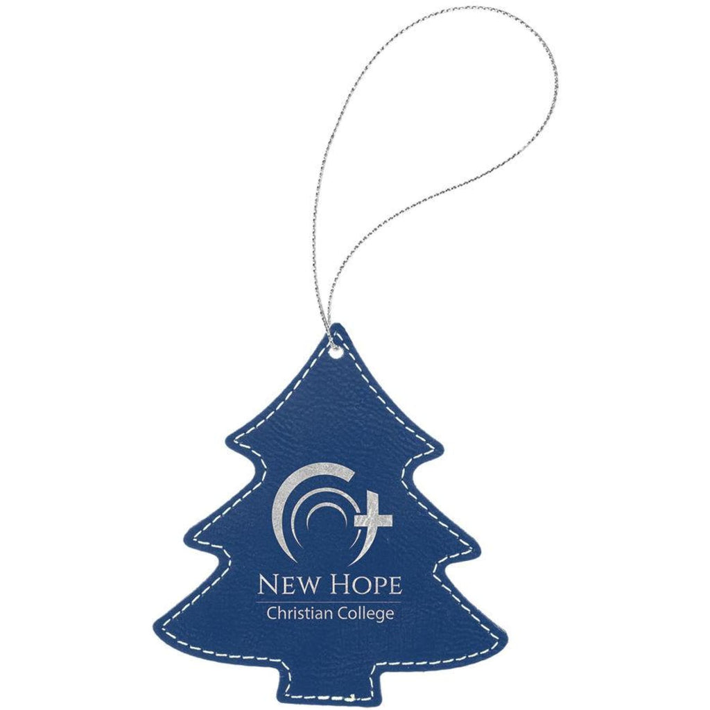 Vegan Leather Ornament - Multiple Shapes - Tree / Blue | Silver - Home Gifts