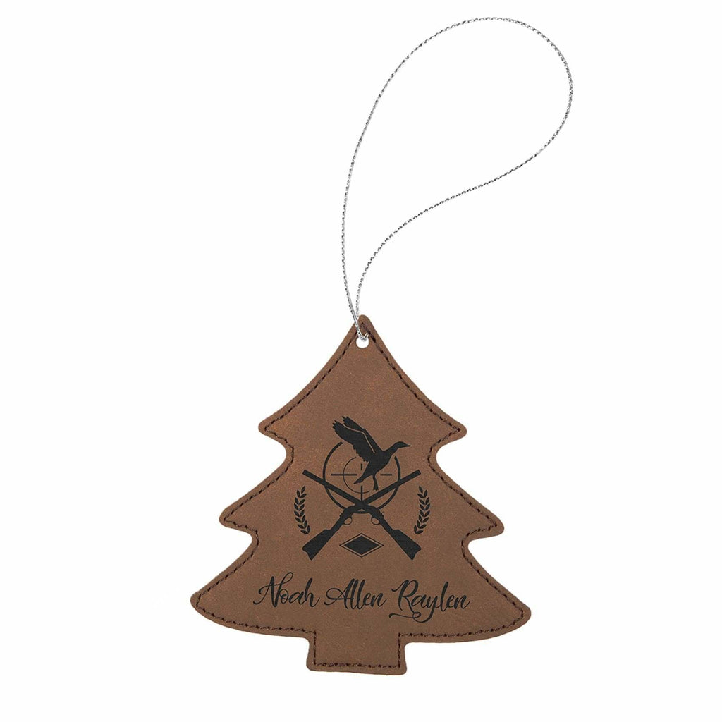 Vegan Leather Ornament - Multiple Shapes - Tree / Dark Brown - Home Gifts