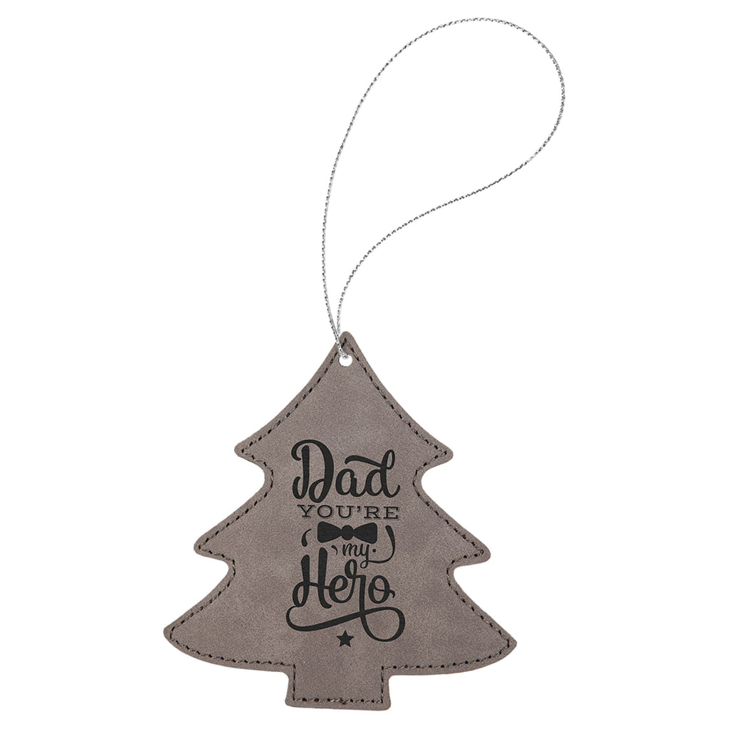 Vegan Leather Ornament - Multiple Shapes - Tree / Gray - Home Gifts