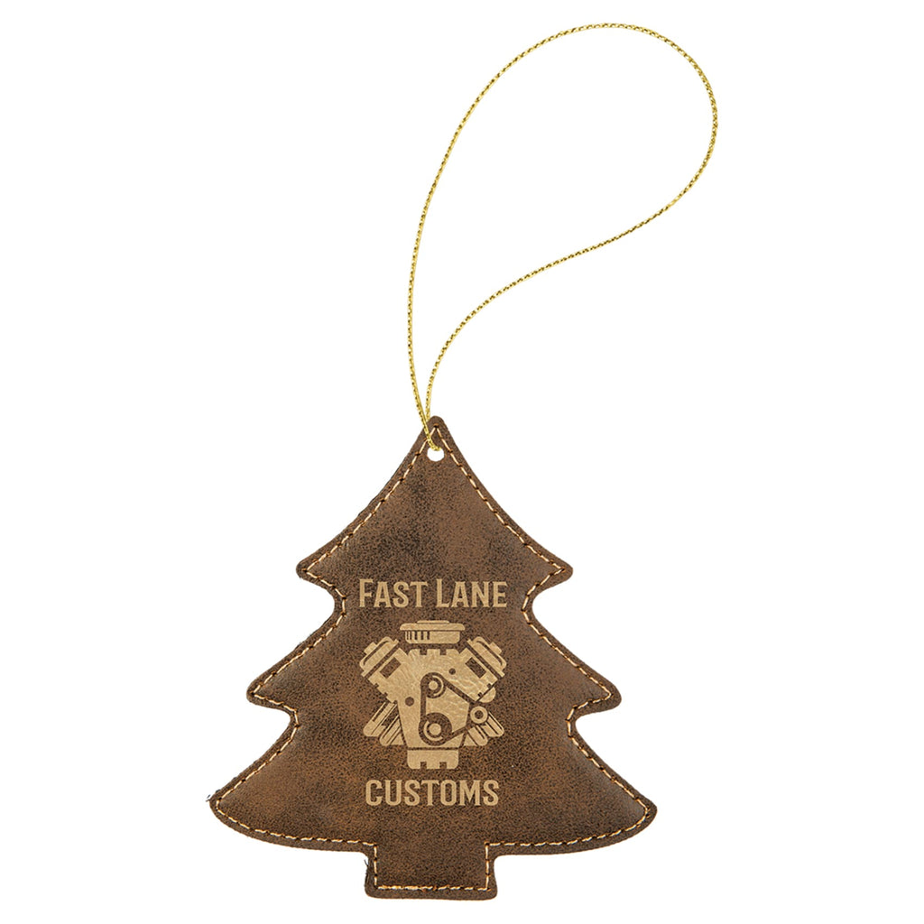 Vegan Leather Ornament - Multiple Shapes - Tree / Rustic | Gold - Home Gifts